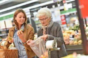 Caregiver aids with shopping